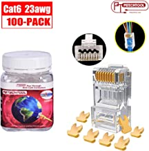 RJ45 23AWG Cat6a Cat6 Connector Gold Plated 8P8C Pass Through Plug (100Packs)