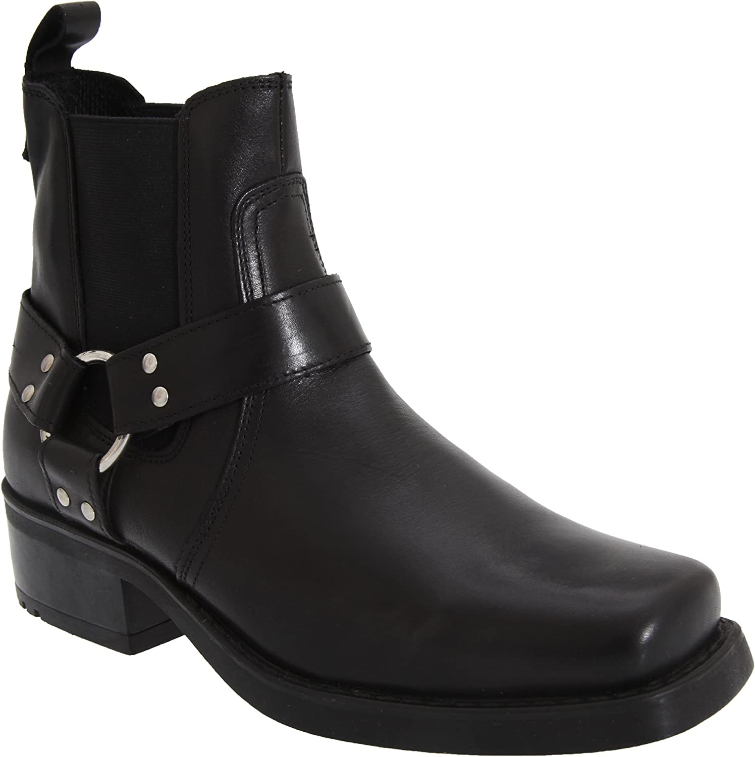 Gringos Mens Low Harley Gusset Harness Leather Boots