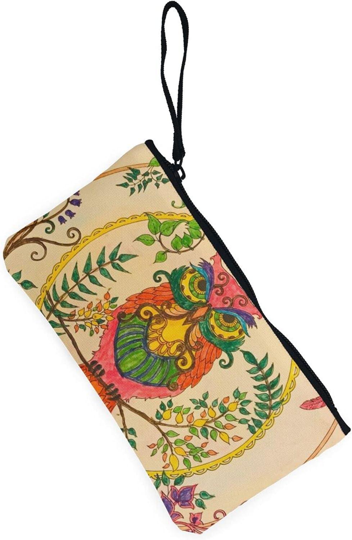 AORRUAM Owl Beliefs Canvas Coin Purse,Canvas Zipper Pencil Cases,Canvas Change Purse Pouch Mini Wallet Coin Bag
