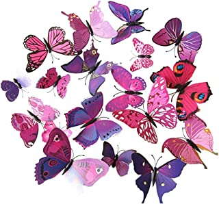 ElecMotive 24 Pcs 3D Butterfly New Home Decoration DIY Removable 3D Vivid Special Man-made Lively Butterfly Art DIY Decor Wall Stickers for Wall Decor Home Decor Wall Art Kids Room Bedroom Decor Living Room Decor (12 Purple + 12 Rose)