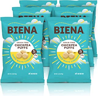 BIENA Chickpea Snack Puffs, Aged White Cheddar | Gluten Free and Grain Free Cheese Puffs | Plant-Based Protein (6 Pack)