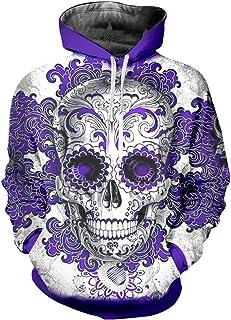 54c3f5cd1011 Mens Print Purple Flower Skull 3D Casual Hoodie Hip Hop Long Sleeve  Pullovers