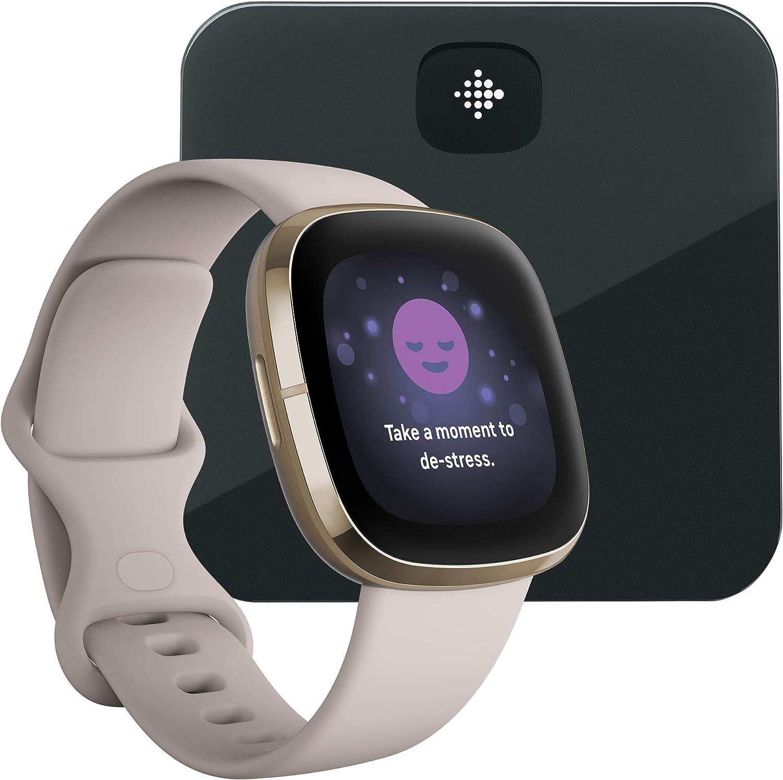 Fitbit sense blanco + báscula inteligente Fitbit Aria negra