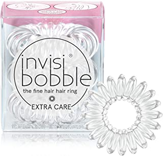 invisibobble Extra Care Traceless Spiral Hair Ties - Pack of 3 Crystal Clear - Strong Elastic Grip Coil Hair Accessories f...