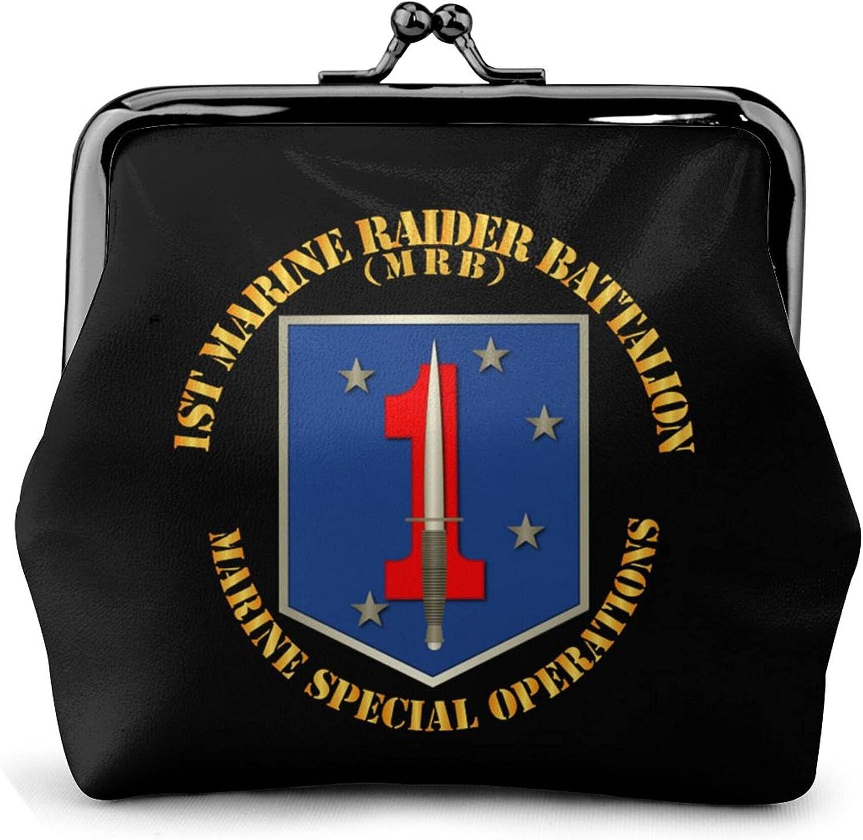 1st Marine Raider Battalion Leather Squeeze Coin Purse Pouch Change Holder For Men & Women