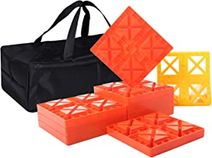 Homeon Wheels RV Leveling Blocks, One Top Tire Wheel Chock and 9 Pack Interlocking Leveling Blocks with Carrying Bag, Heavy Duty Camper Leveling Blocks and Chocks Anti-Slip Pads Design (WH-304)