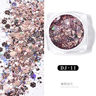 1 Box Holo Nail Flakes Sequins Hexagon Laser Rose Gold Pink Purple Glitter Powder Paillette DIY Nail Art Decoration 3d Manicure UV Gel Polish Tips Accessory (DJ11)