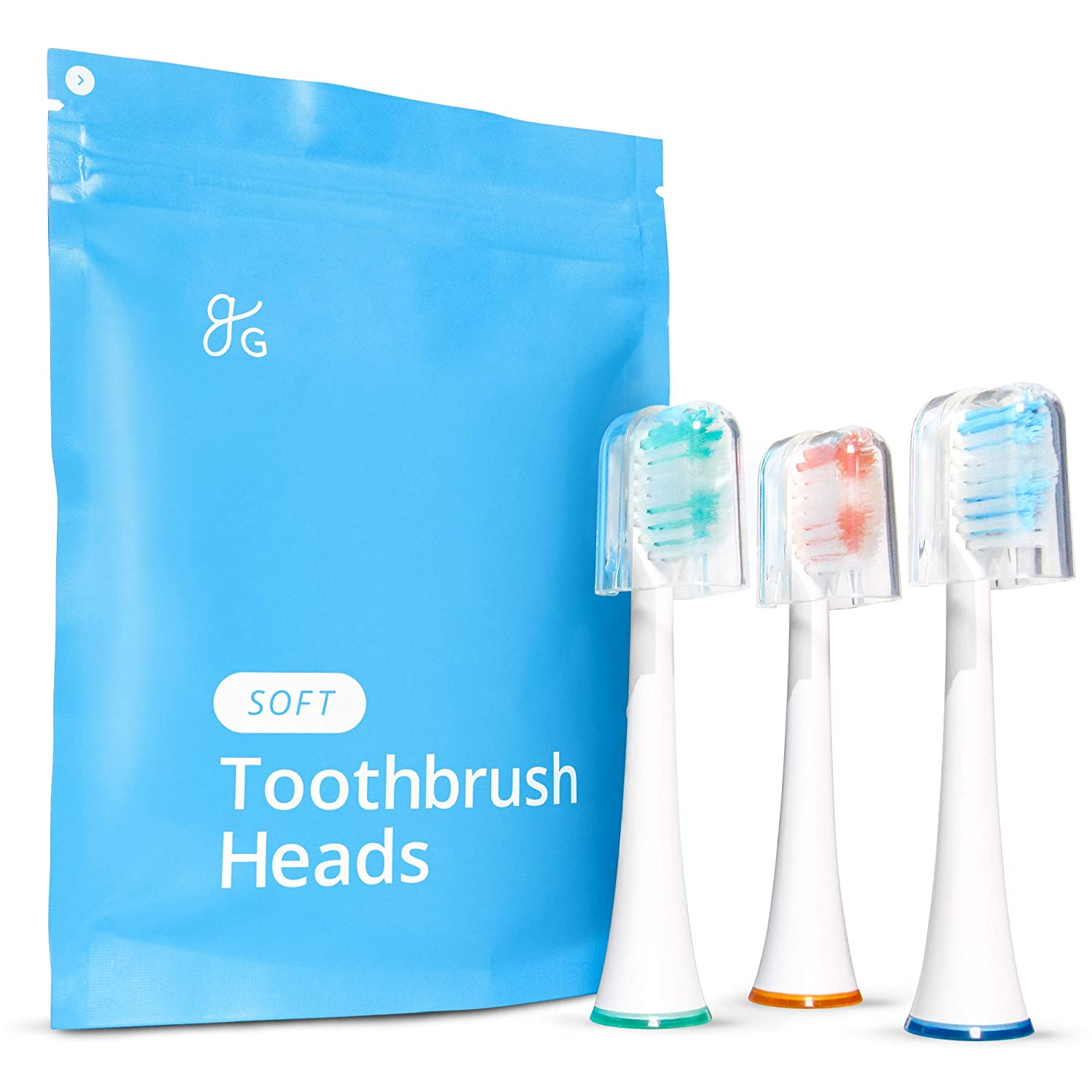 GreaterGoods Sonic Electric Replacement Heads, 3 Count for S/E Toothbrush, Only Works with gG Toothbrushes (Soft)