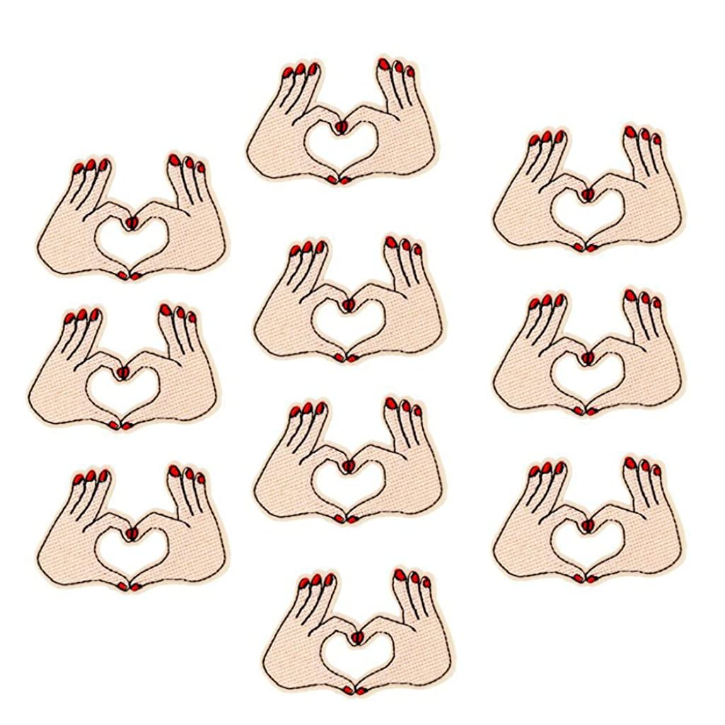 AKOAK 10 Pieces Palm-Shaped Heart Patches Iron-on or Sew for Clothes Embroidered Appliques DIY Accessory Bag Badge