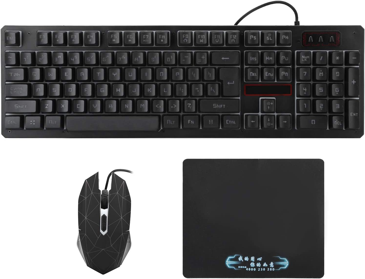 Keyboard Mouse Set, USB Wired Backlit Gaming Keyboard Mouse for Computer True 19‑Key Conflict‑Free Design, 75‑Degree Oblique Angle Base, Four‑Speed DPI Adjustable, Durable and Convenient(black)