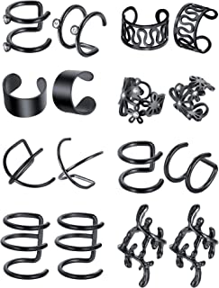 8 Pairs Stainless Steel Ear Cuff Non Piercing Clip on Cartilage Earrings for Men Women, 8 Various Styles
