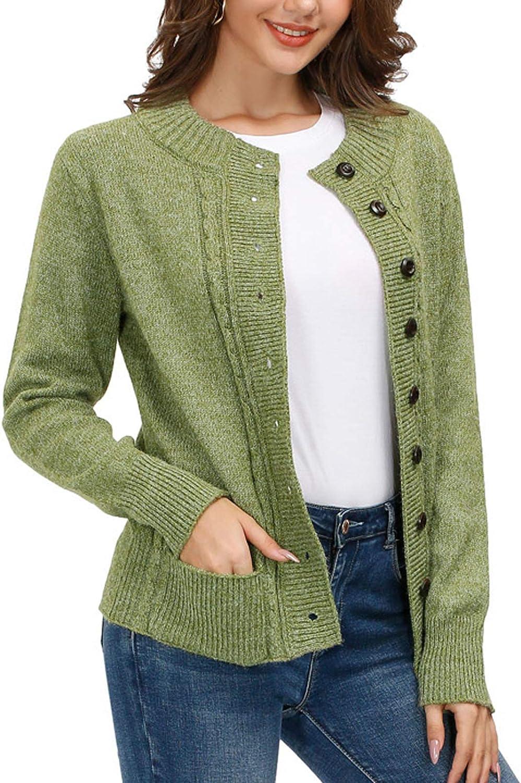 KANCY KOLE Women Cable Knit Sweater Coat Long Sleeve Button Down Cardigan Outwear with Pockets S-XXL