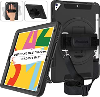 """Miesherk iPad 7th Generation Case, iPad 10.2 Case 2019 with Pencil Holder, 360 Rotatable Stand AdjustableStrap, Shockproof Case for iPad 7th Gen Case 10.2''/ iPad Air 3/Pro 10.5"""" 2017/2019, Black"""