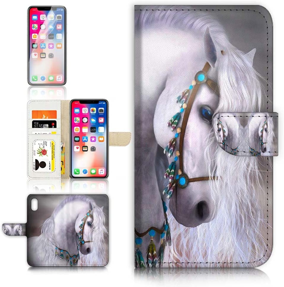 (for iPhone XR) Flip Wallet Case Cover & Screen Protector Bundle - A20470 White Horse Princess