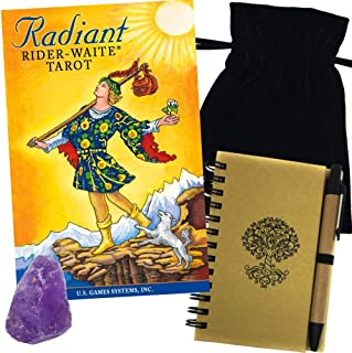 Radiant Rider-Waite Tarot Deck Gift Set with Bag, Amethyst, & Journal With Pen
