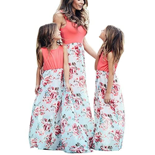 ca9d4a86945d Geckatte Mommy and Me Dresses Casual Floral Family Outfits Summer Matching  Maxi Dress