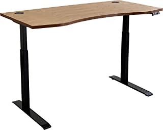 Electric Standing Desk 150cm x 60cm - Walnut Top and Black Frame, Manager's Series, USB Charge Port and Drawer, Adjustable...
