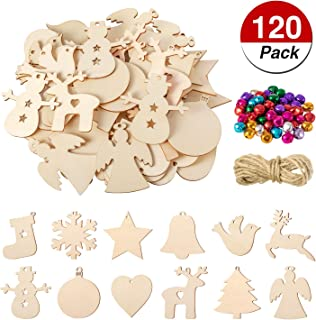 120 Pieces 12 Styles Unfinished Wooden Christmas Cutouts Xmas Wooden Slices Hanging Ornaments with Jute Rope and 50 Pieces Colorful Bells for Christmas Gift Decoration, Festival, DIY Craft Project