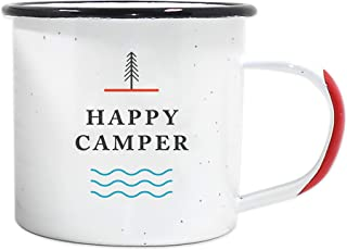 Journo Happy Camper Enamel Camping Mug - White, 12 Ounce (350 ml), Eco-Friendly Camp Mugs Perfect for Hot Morning Coffee Or Cool Campfire Whiskey. (Two Unique Styles to Choose from Travel Gear.) …