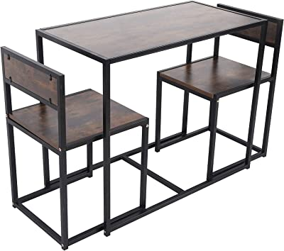 Dining Table, Heavy Duty Imitation Wood Grain Writing Table Desk, Breakfast Table Space Saving Breakroom Table for Home Decoration Apartment