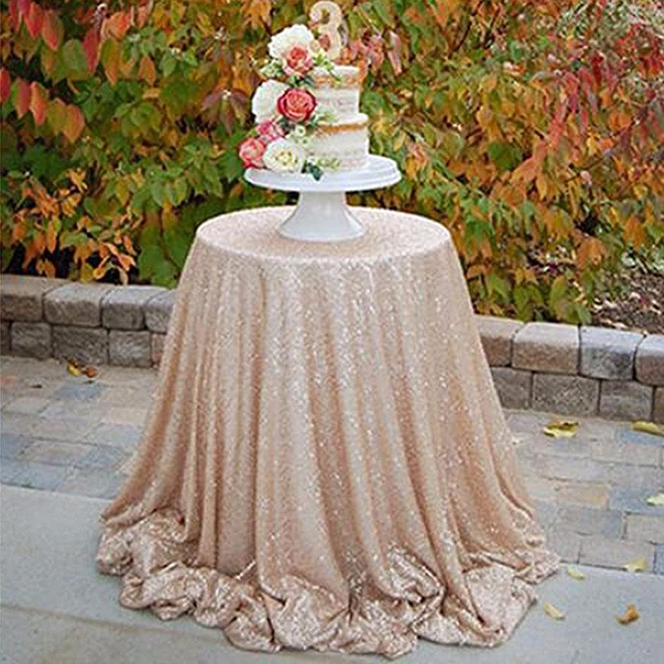 B-COOL Sequin Tablecloth 120Round Champagne Shimmer Fabric for Wedding/Party/Birthday/Baby Shower Decor