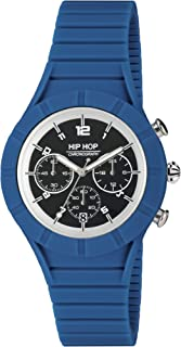 Orologio HIP HOP uomo X MAN quadrante nero e cinturino in silicone blu, movimento CHRONO QUARZO