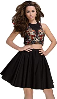 Tony Bowls 2 Piece Denim Short Homecoming Cocktail Dress, Embroidered top and Goofy Skirt 2 Piece Short Dress