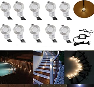 10 unids Mini Empotrable Spotlight Set DC12V Ø19mm 0.4W LED Empotrable Punto IP67 Impermeable Empotrado Patio Exterior Jardín de Cocina Lámpara Led