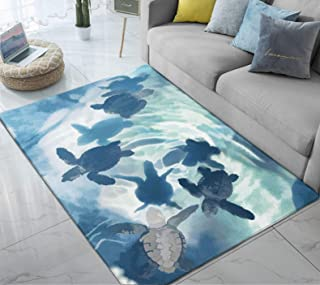 Area Rug Sea Turtle Large Rug Mat for Living Room Bedroom Playing Room 6.6' x 5'