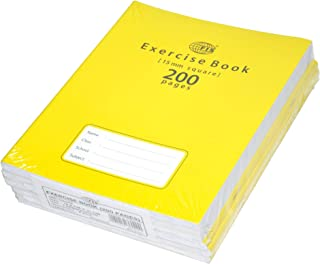 FIS Exercise Books 15 mm Square with Left Margin, 200 Pages, Pack of 6 Pieces, 16.5 x 21 cm Size - FSEBSQ15200N