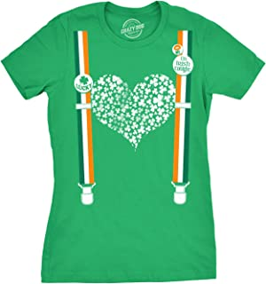 Womens Clover Heart Suspenders T Shirt Funny Saint Patricks Day Patty Cute Tee