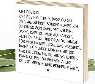 Wunderpixel® Holzbild Ich liebe Dich - Liebeserklärung - 15x15x2cm zum Hinstellen Aufhängen, Spruch - schwarz-weißes Holz-...