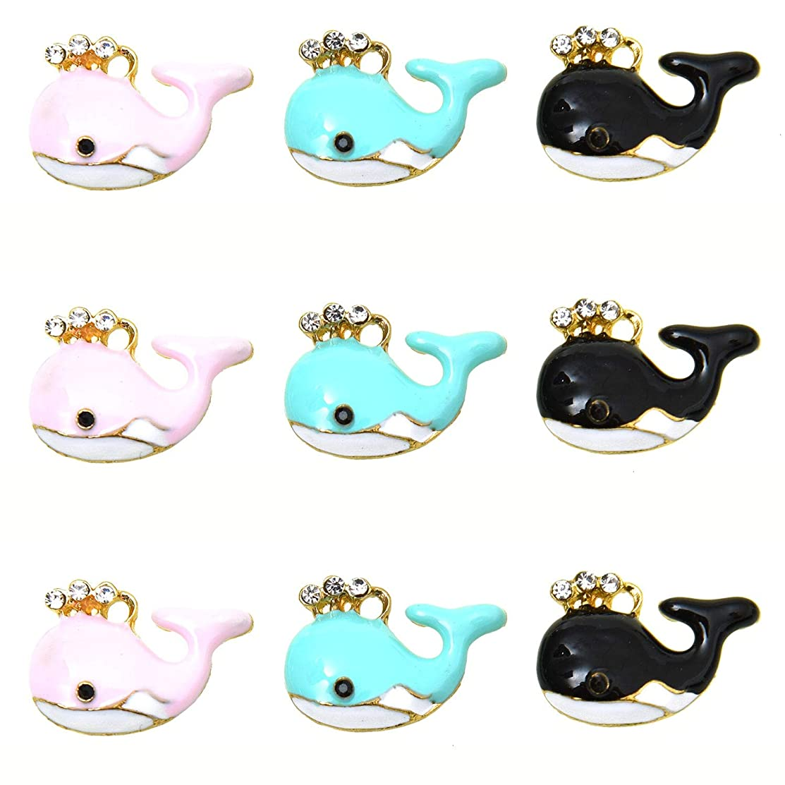 Monrocco 9Pcs Whale Charms Enamel Whale Charm Bracelet Charms Pendants for Jewelry Making and Crafting