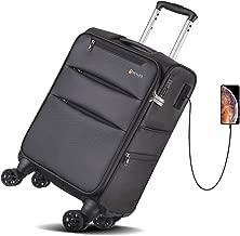 REYLEO, Bagaglio a Mano Leggero Valigia con 4 Doppie Ruote e Porta di Ricarica USB Lucchetto TSA Integrato-LUG20B Nero (55cm 37L)