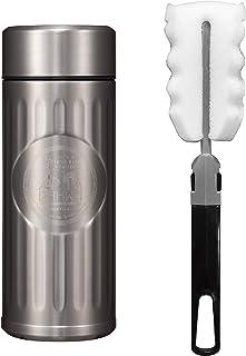 シービージャパン 水筒 シルバー 420ml 直飲み ステンレス ボトル 真空 断熱 カフア コーヒー ボトル ブラシ付き QAHWA