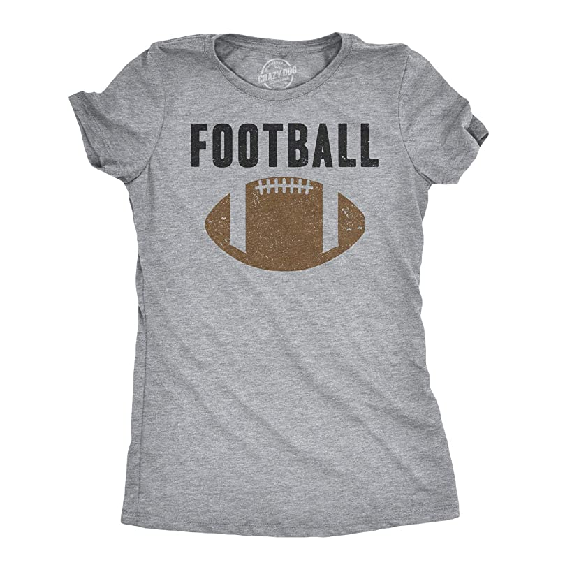 Womens Vintage Football Text Sports Distressed Football Laces Sporty T Shirt