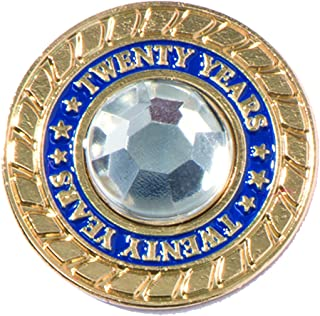 TCDesignerProducts 20 Years of Service Rhinestone Class Ring Award Pin