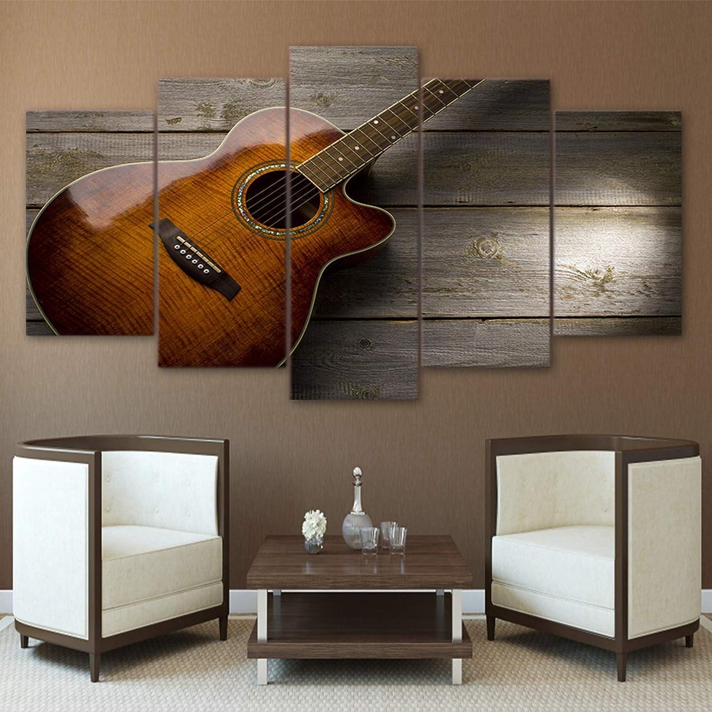 Lunderliny Cuadro sobre Lienzo HD Impreso 5 Piezas Guitarra Clásica Música Pintura Lienzo 5 Paneles Póster Cuadros De Pared para Sala De Estar E