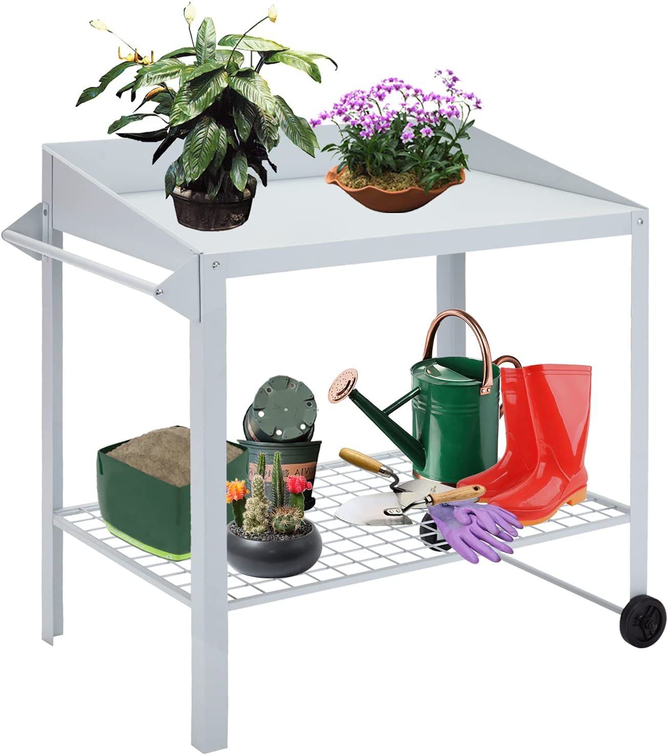70% OFF Outlet Kinsunny Steel Potting Bench Now free shipping and Utility Wheel Hand with Table