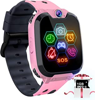 """Kids Game Smart Watch Phone - 1.54"""" Touch Screen Game Smartwatches with [1GB Micro SD Card] Call SOS Camera 7 Games Alarm Clock Music Player Record for Children Boys Girls for 4-12 Years (Pink)"""