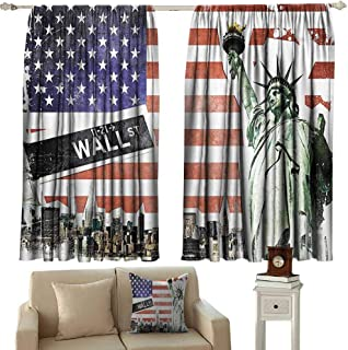 Sunnyhome Black Out Window Curtain,American Flag Decor NYC Collage with Famous Monuments Wall Street and Manhattan Urban Display,Energy Efficient, Room Darkening,W63x63L Inches,Multi