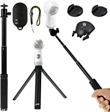 EEEKit 4 in 1 Bluetooth Romote Mounting Kit for Samsung Gear 360 Camera 2017/2016, Bluetooth Remote Shutter,Mini Tripod Stand,Extend Selfie Stick Monopod,Adhesive Quick Release Flat and Curved Mount