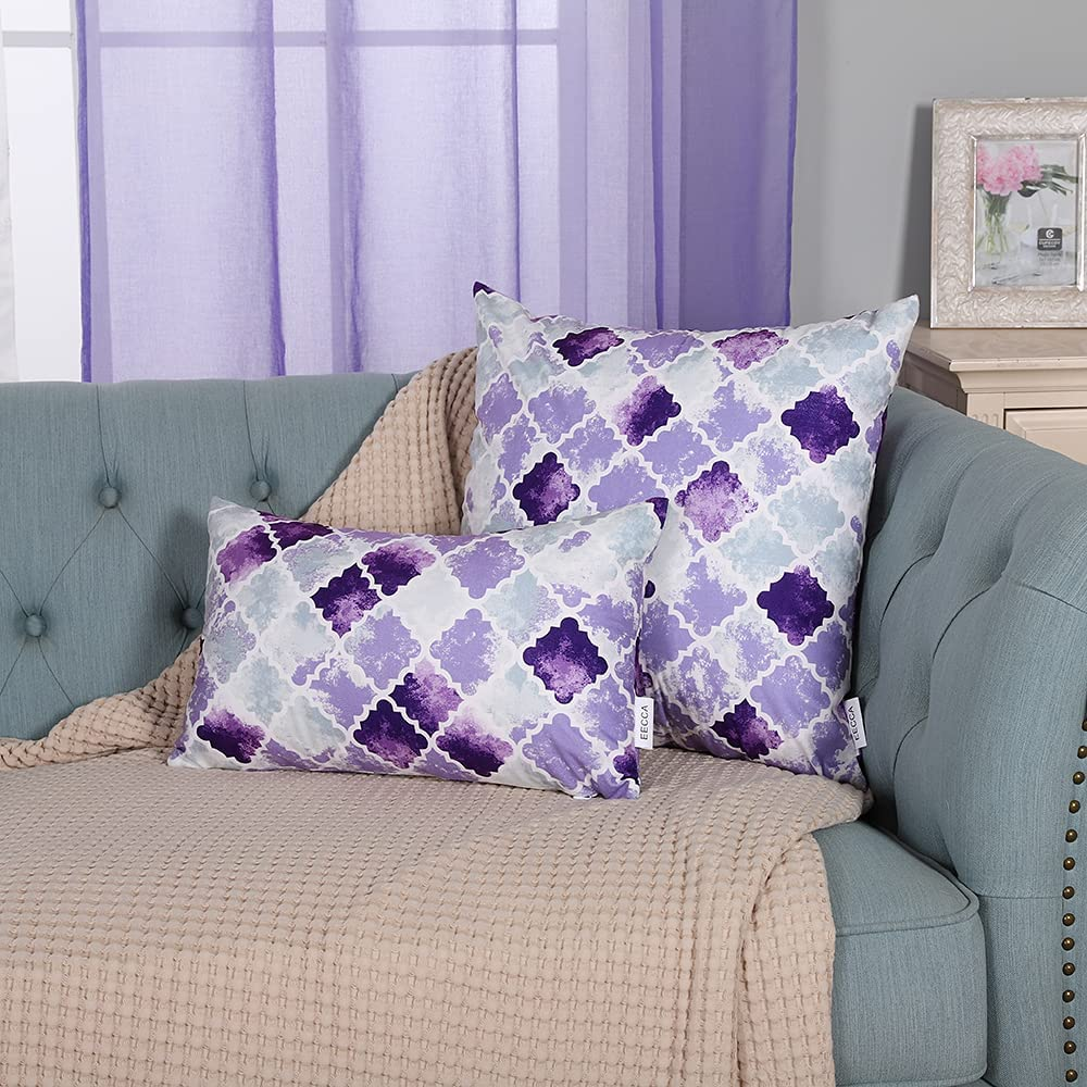 EECCA Set of 2 Farmhouse Manual Hand Painted Colorful Geometric Trellis Chain Print Velvet Throw Pillow Cover Decorative Pillow for Bedroom Living Room Cushion Cases Bed Sofa,Purple Grey,16x16 Inches