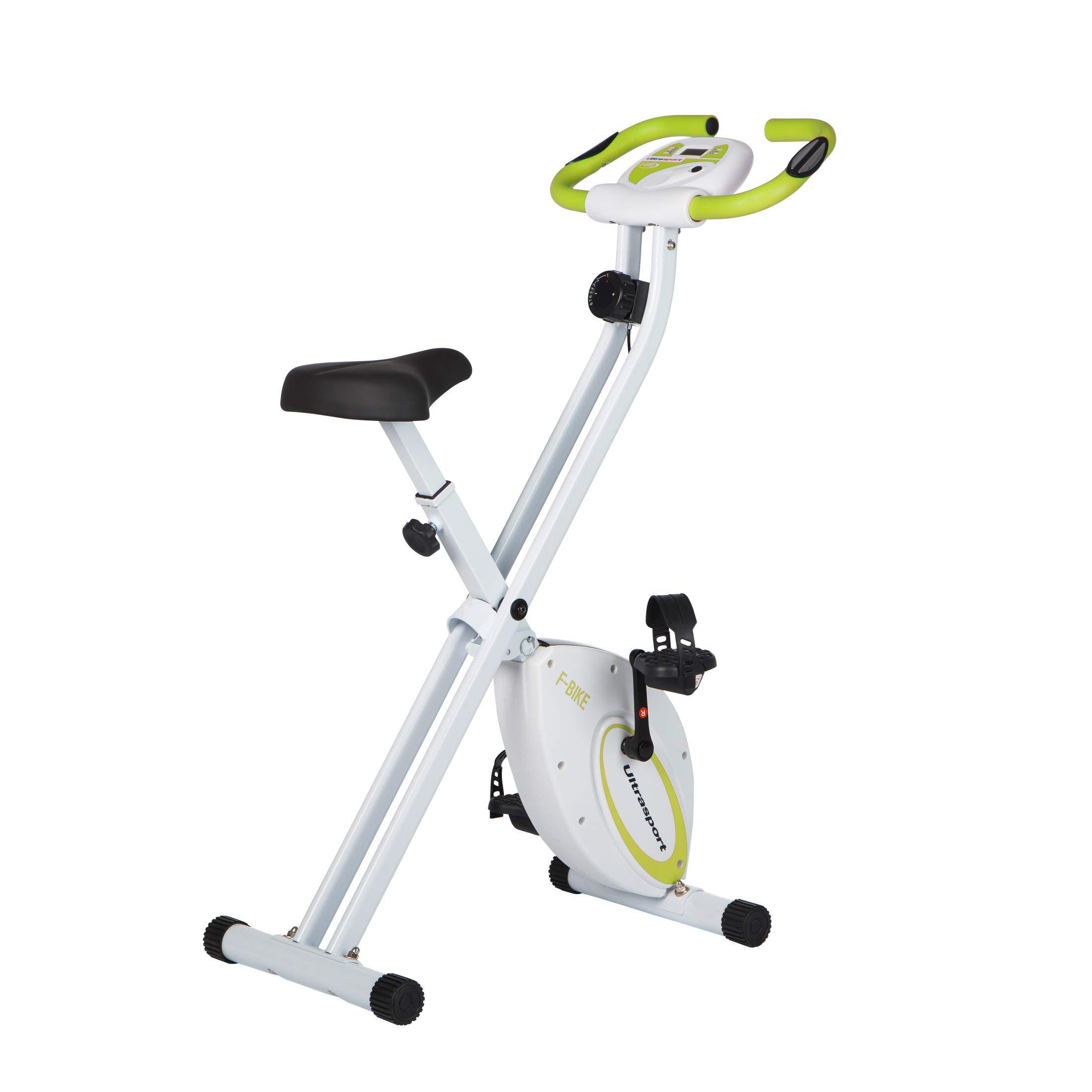 Ultrasport F-Bike Bicicleta estática de fitness, aparato doméstico, plegable con consola y sensores de pulso en manillar, Verde: Amazon.es: Deportes y aire libre