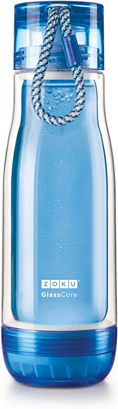 Water Btl Gls Blu 18oz
