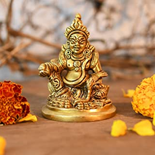 CraftVatika Brass Lord kuber Statue of Wealth vastu Kuvera Idol for puja Spiritual Gifts Decorative Showpiece for Home Tem...
