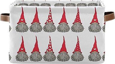 Mnsruu Duży składany kosz do przechowywania z uchwytami, śliczne gnomy świąteczny wzór tkanina składane pojemniki do przec...