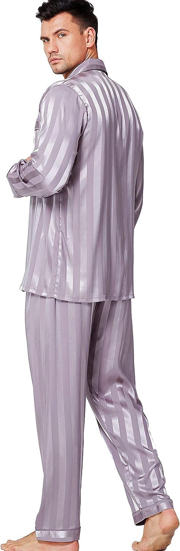 Lonxu Pajamas Set Mens Silk Satin Pajamas Long Sleeve Loungewear Two-Piece Sleepwear Button-Down Pj Set S-XXXXL