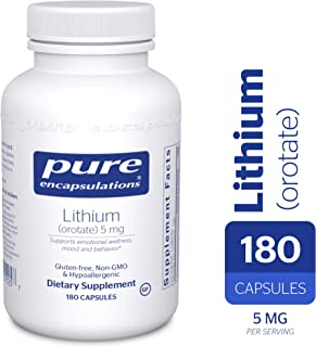 Pure Encapsulations - Lithium (Orotate) 5mg - Hypoallergenic Supplement Supports Healthy Mood, Emotional Wellness, Behavior and Memory* - 180 Capsules