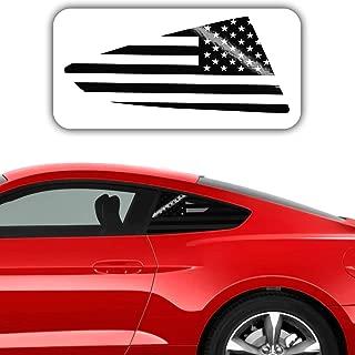 Bogar Tech Designs - PRECUT Quarter Window American Flag Vinyl Decal Compatible with Ford Mustang 2015-2019, Gloss Black